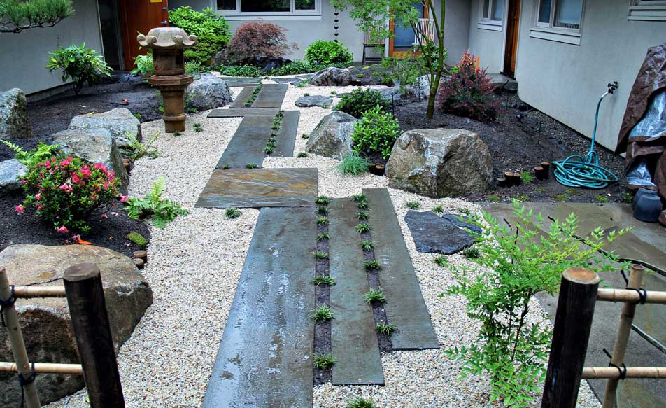 Japanese Garden Designs japanese lanterns Garden Japanese Courtyard Design Japanese Stone Walkway